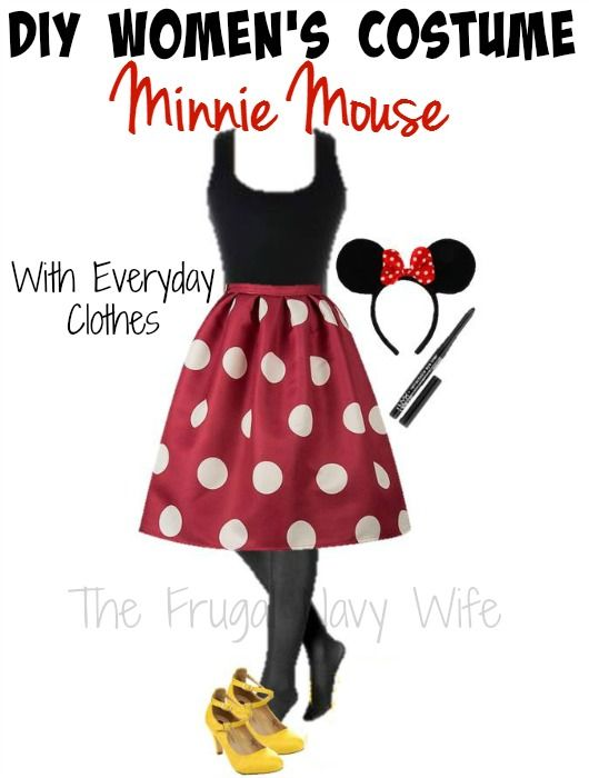 DIY Womenu0027s Minnie Mouse Halloween Costume - With Everyday Clothes - The Frugal Navy Wife  sc 1 st  Pinterest & DIY Womenu0027s Minnie Mouse Halloween Costume - With Everyday Clothes ...