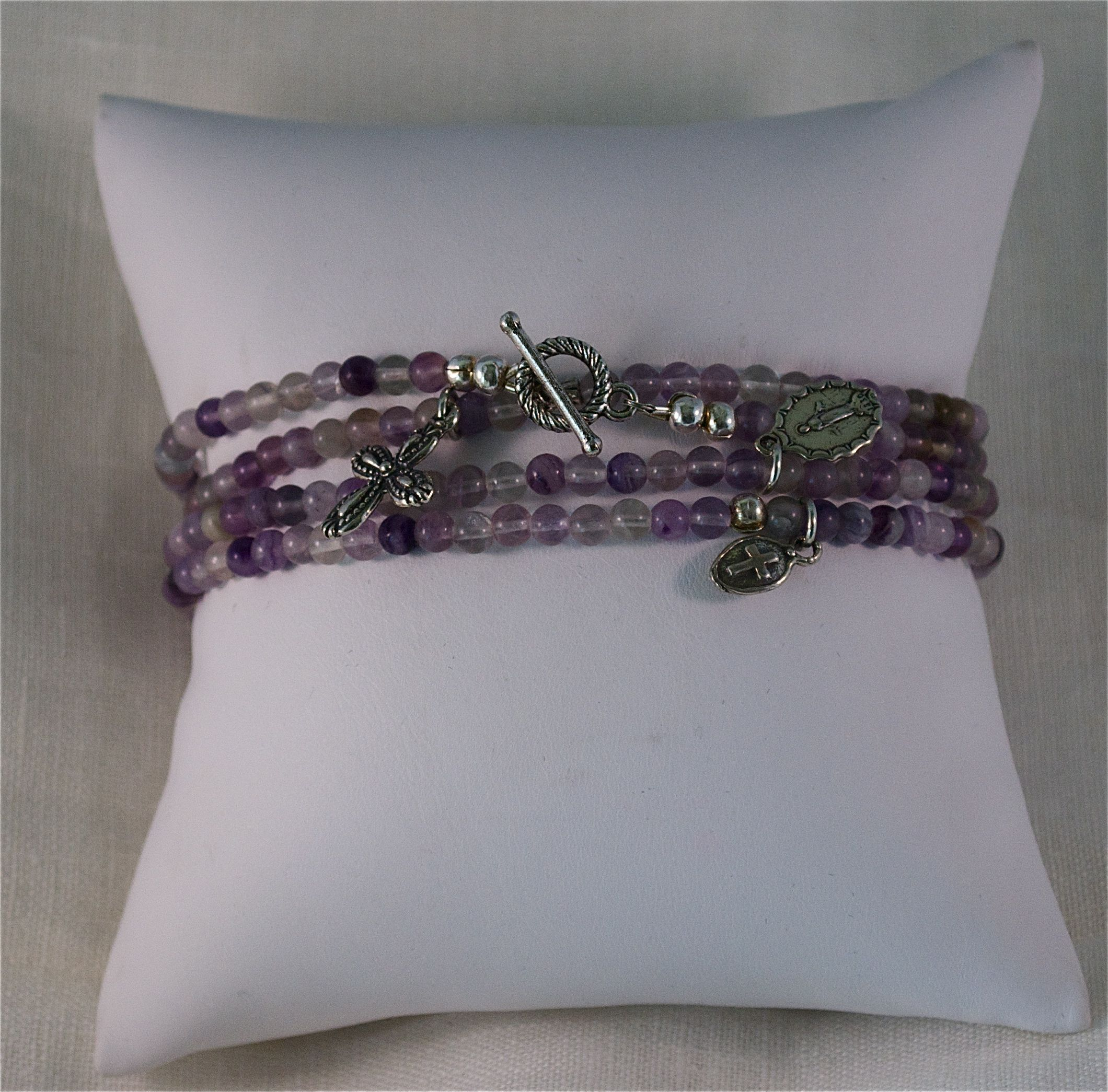 WrapAround Bracelet  5mm Amethist Beads w/Sterling Silver Pendants and Clasp.  Can also be worn as a necklace.