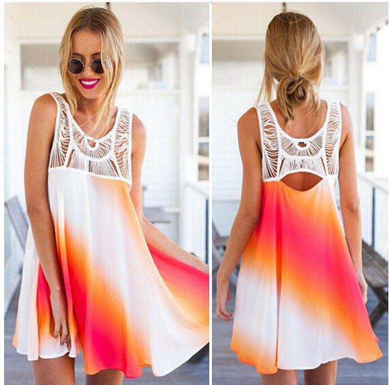 Graceful gradient ramp sundress casual summer sleeveless dress