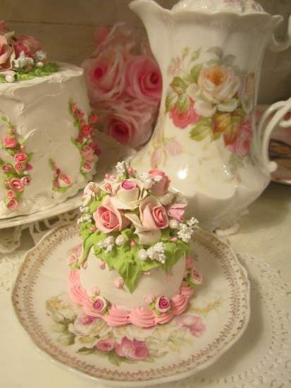 Pink & white shabby roses faux cake from Rhonda's Rose Cottage Designs <3