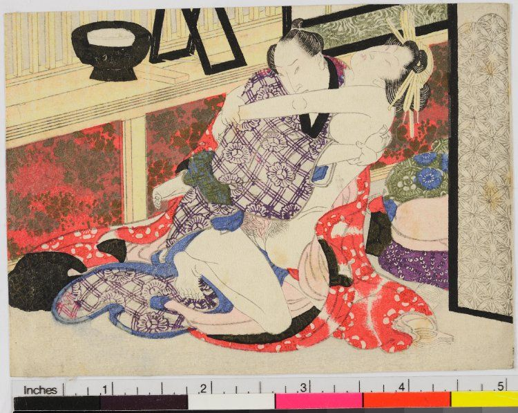 Print. Small surimono-style erotic print. Lovers beside makeup stand and window.