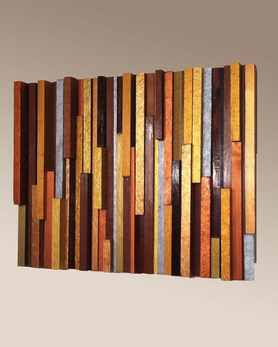 Wood Wall Art - Vertical Metallic Texture, Reclaimed Wood Wall Art, Home and Living, Home Décor