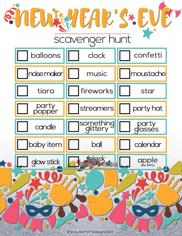 New Yearu0027s Eve Scavenger Hunt for Kids Free printable - activity calendar