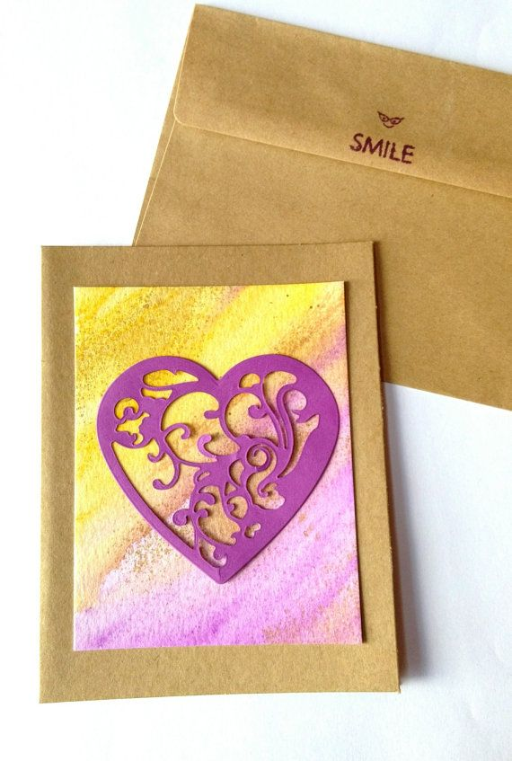 Valentine's Day card with envelope Hand Painted by CLMEmporium