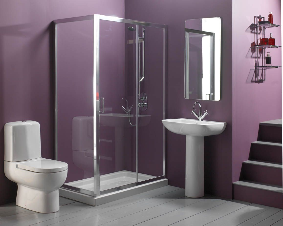 Need To Finish With Bathroom Paint Color Ideas? : Elegant Modern Bathroom  Design Featuring Glass Shower Room And White Toilet Also Vessel Si.