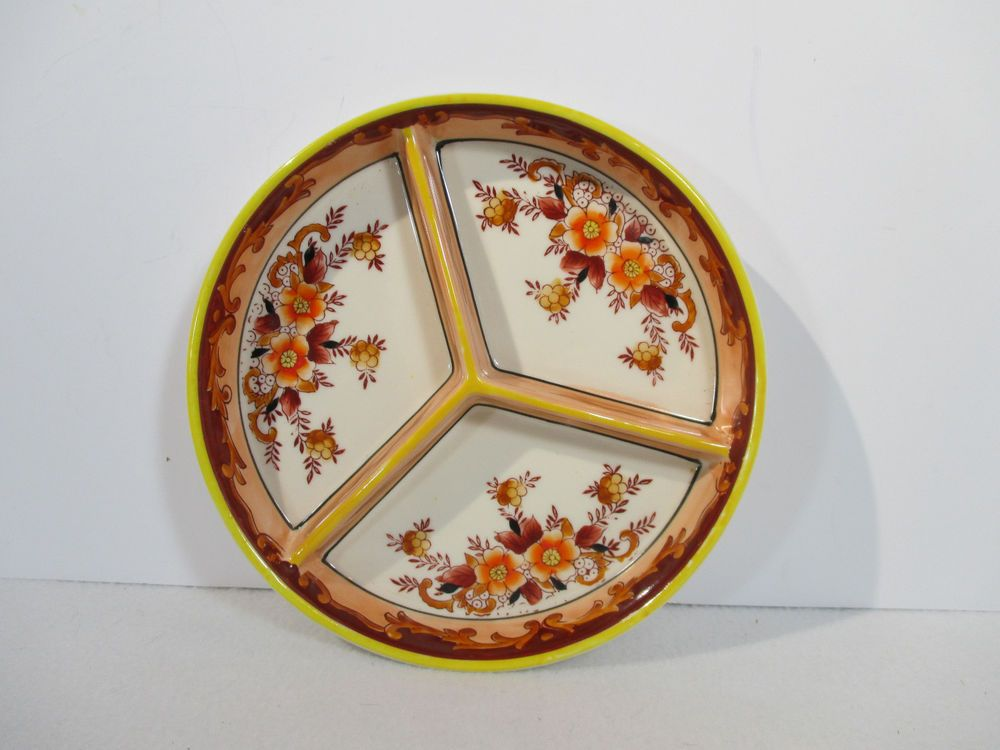 Antique Arita Japanese Relish Dish Moriyama Mori-Machi Floral Divided Orange & Antique Arita Japanese Relish Dish Moriyama Mori-Machi Floral ...