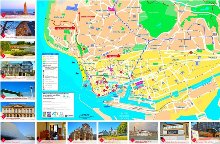 Le Havre sightseeing map Maps Pinterest France and City