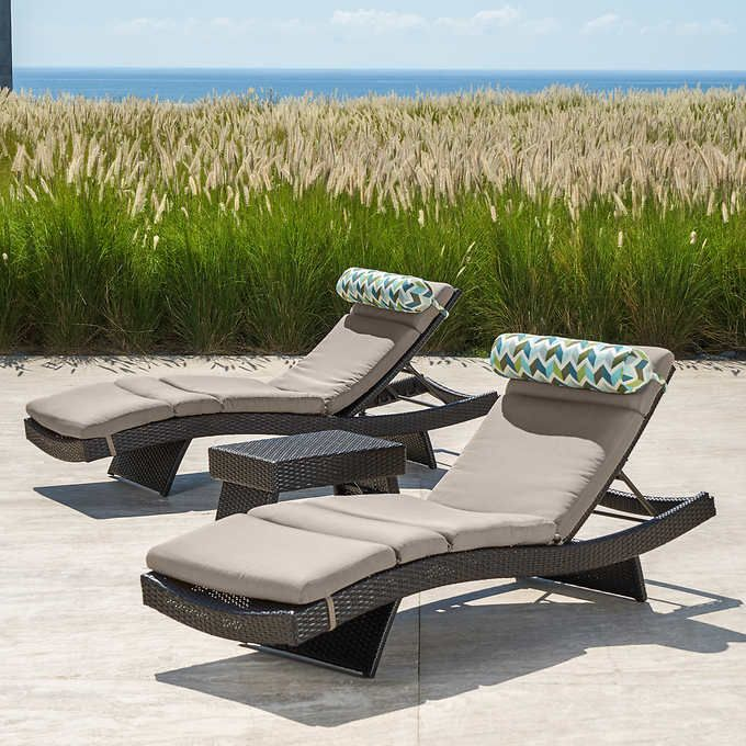 Portofino Comfort 3 Piece Chaise Loungers In Taupe Mist