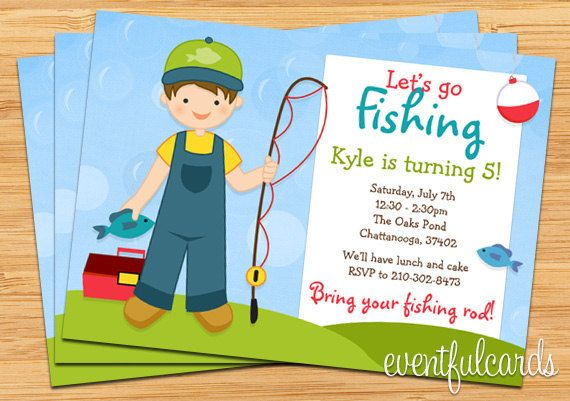 Fishing Birthday Party Invitation For Kids