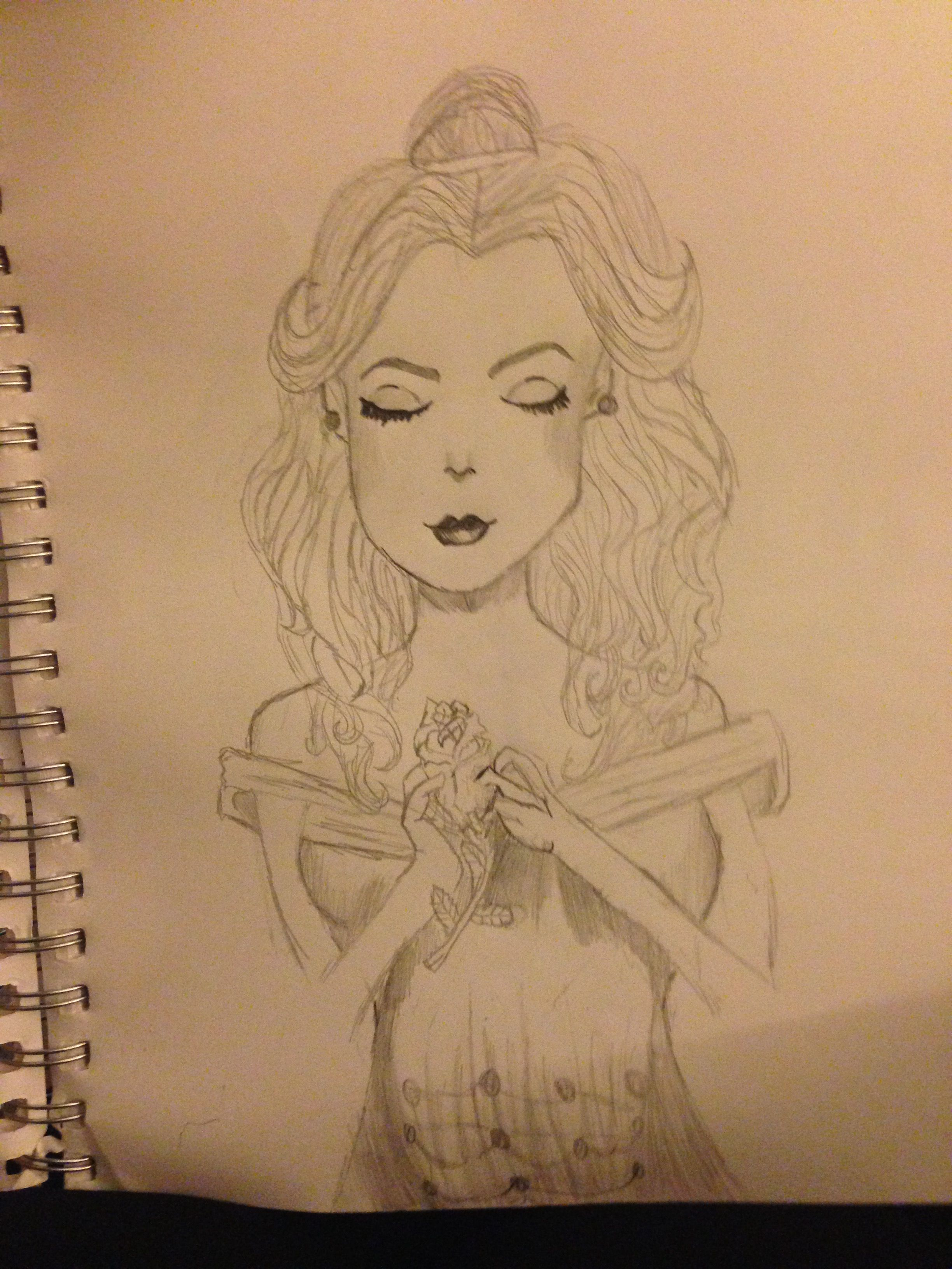 My Really Bad Drawing Of Belle I M Ashamed To Put This Up My Drawings Bad Drawings Belle Drawing