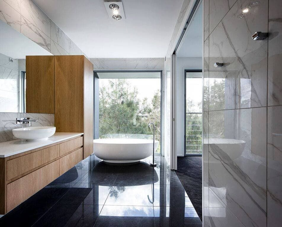 Architecture Interior Design On Instagram Amazing Feature Window Welcoming In Natural Light To This Designe With Images Bathroom Design Luxury Bathroom Modern Bathroom