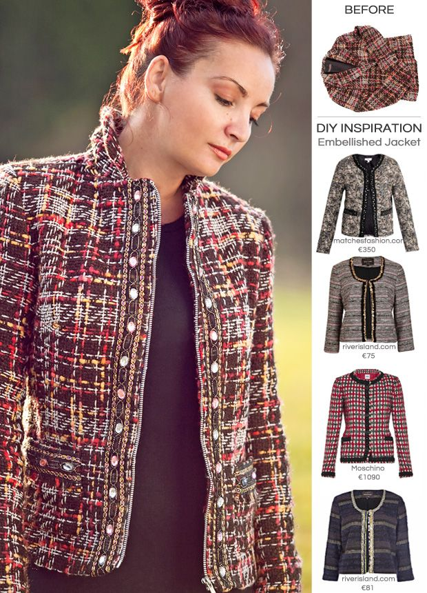 diy tutorial boucl blazer mit dekoborte aufpeppen cosas para ponerse pinterest blazer. Black Bedroom Furniture Sets. Home Design Ideas