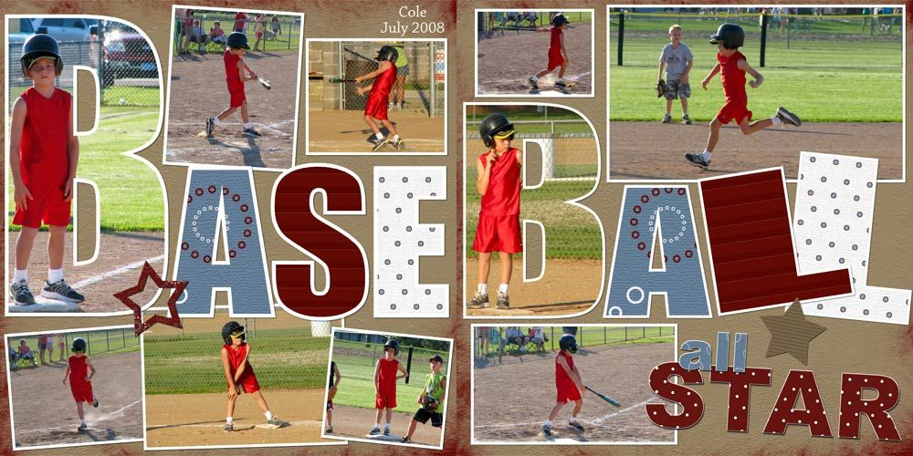 baseball scrapbook layouts | love the pictures as letters.