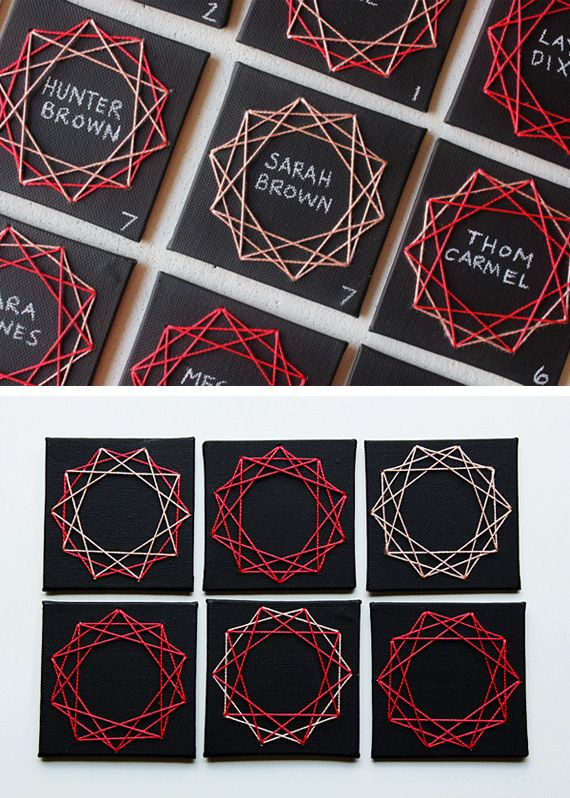 Geometric escort cards in Ideas of planning, organizing and decorating weddings