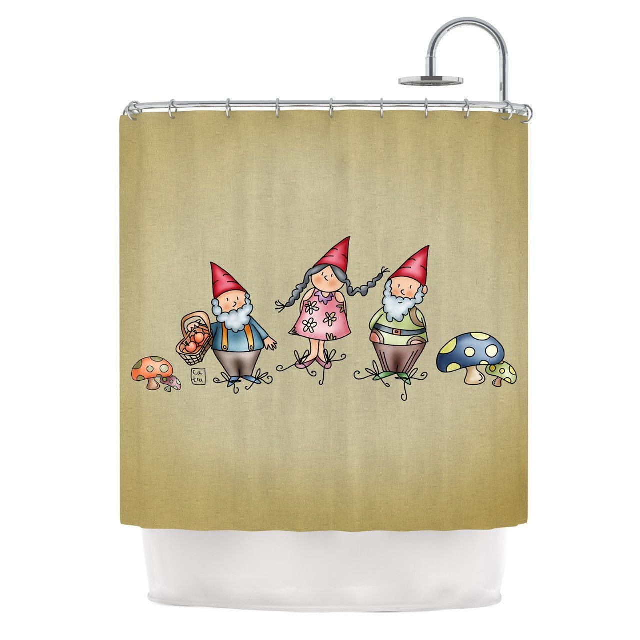Carina Povarchik Gnomes Brown Multicolor Shower Curtain Shower