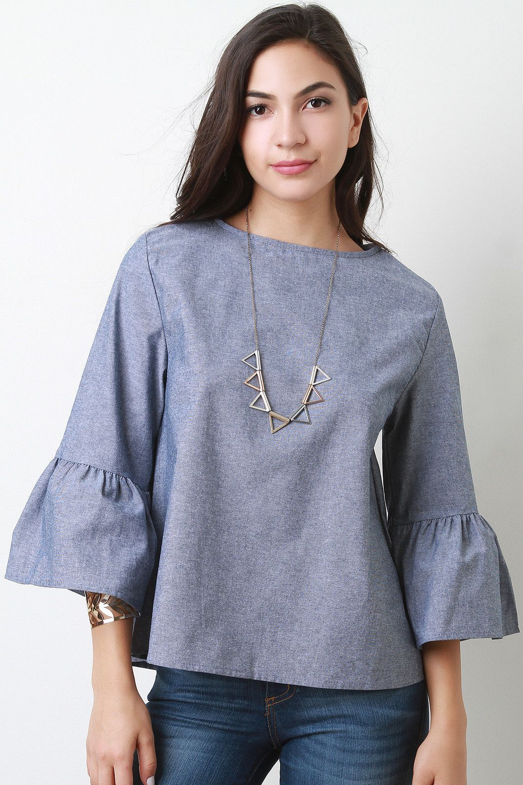 Chambray bell sleeve top this top features chambray denim for Chambray top