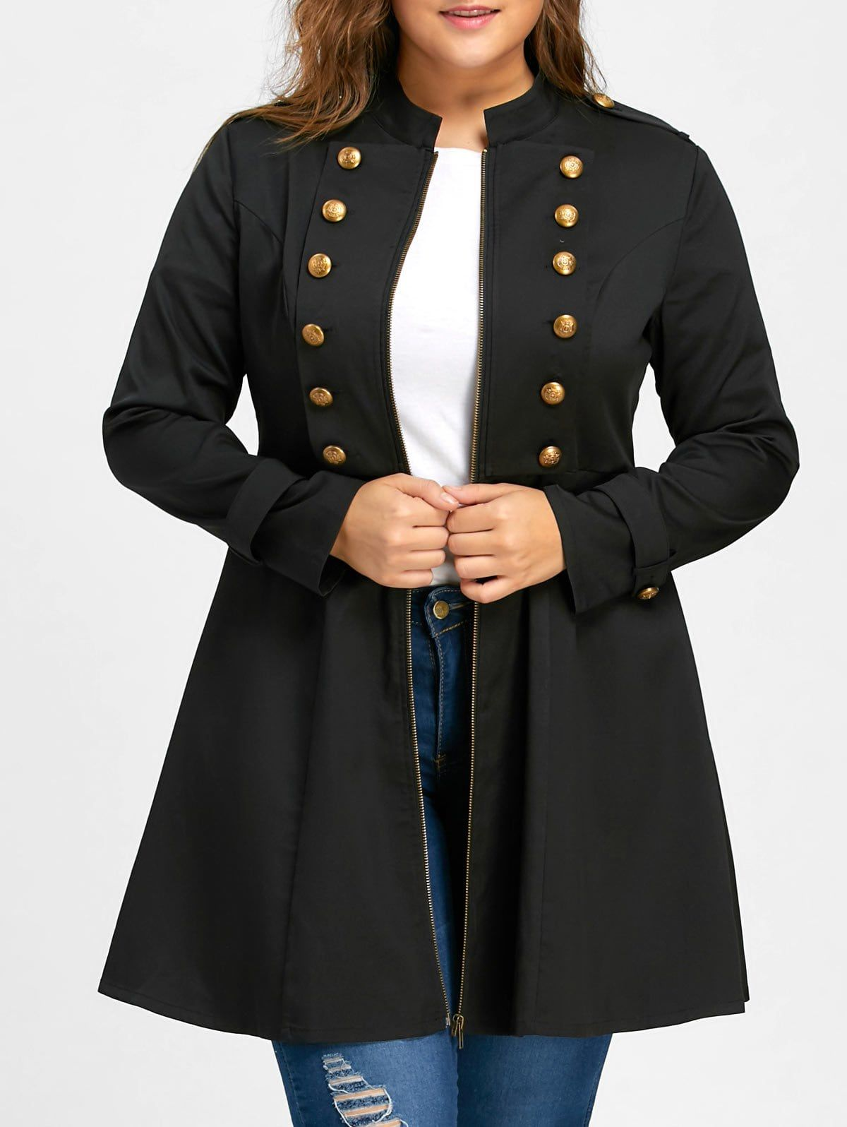 c486f5fc7a8 Plus Size Double Breasted Flare Coat - BLACK 5XL