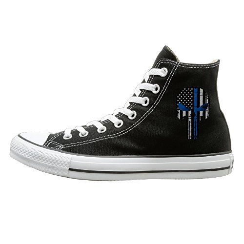 SOLO Unisex Thin Blue Line The Punisher High Top Sneakers Canvas Shoes Cool Sport  Shoes Cool