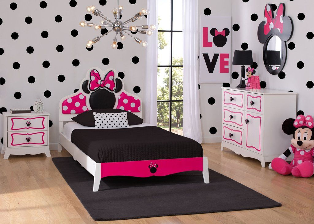 Delta children minnie mouse wooden twin bedroom collection for Habitaciones infantiles disney