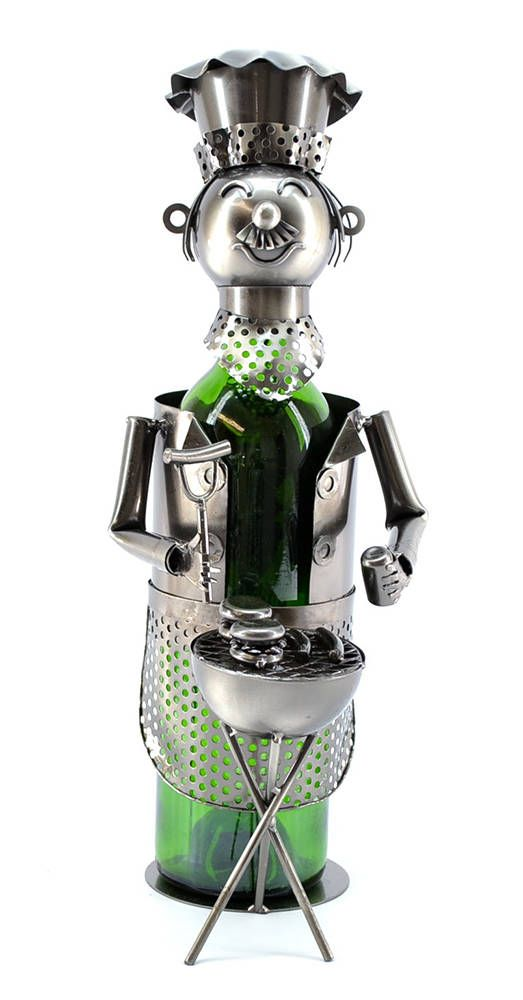 Bbq Barbecue Chef Metal Wine Bottle Holder Character Wine Bottle