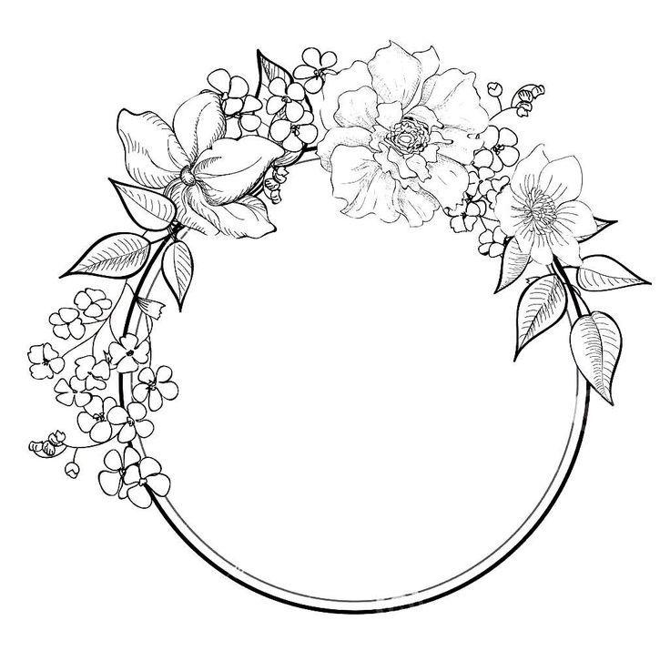E0e9b8c8317bedc4f5f1a5fd76ed40c8 Jpg 1026 998 Wreath Drawing Drawing Borders Flower Drawing