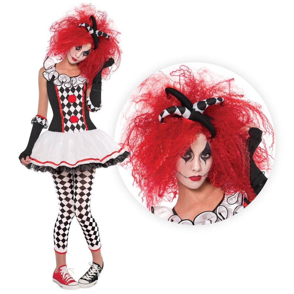 Ladies Jester Harlequin Costume Evil Clown Jesterina Fancy Dress Halloween Scary