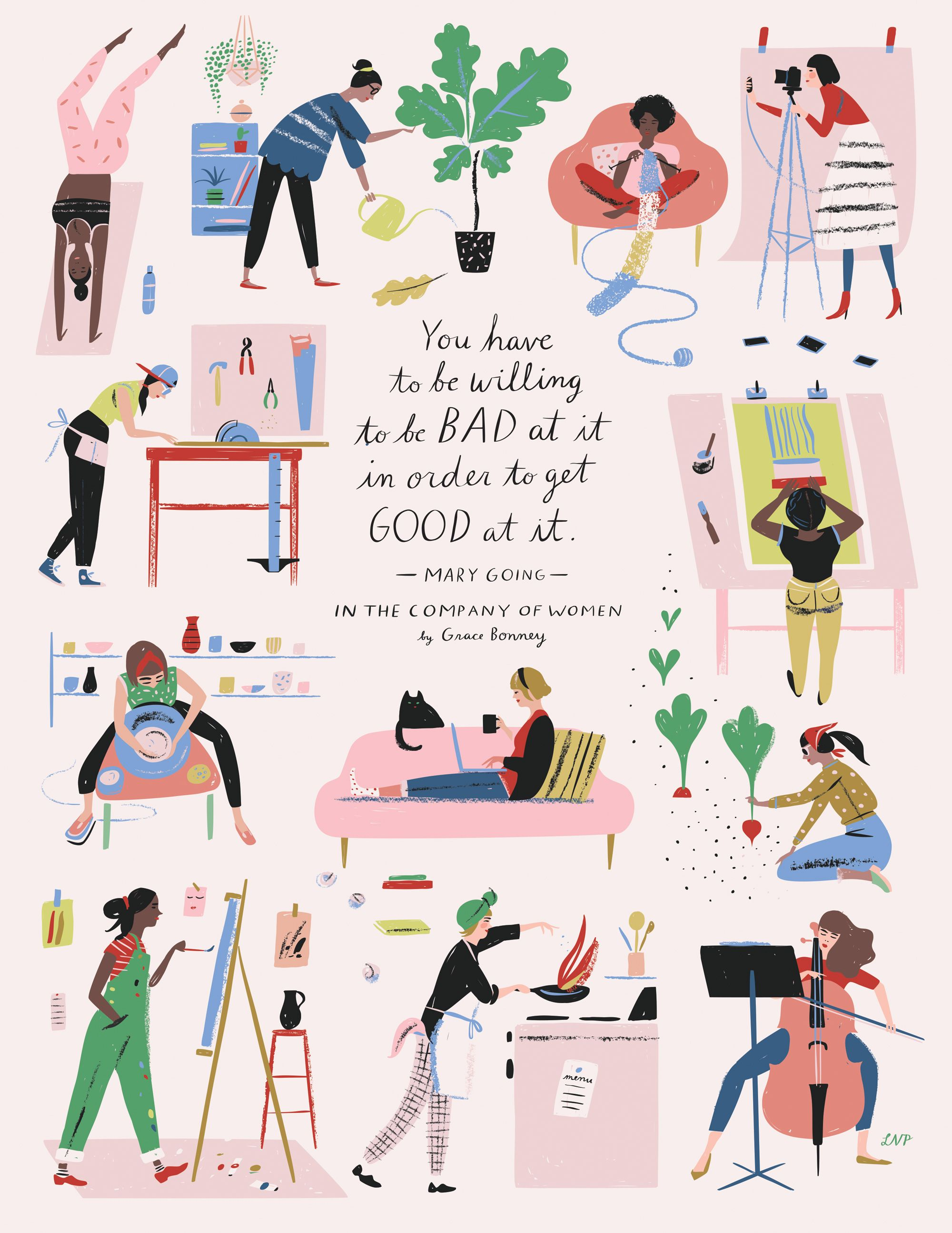 In The Company Of Women Book Artwork Books Woman And Free - Artist perfectly illustrates the daily struggles of being a woman