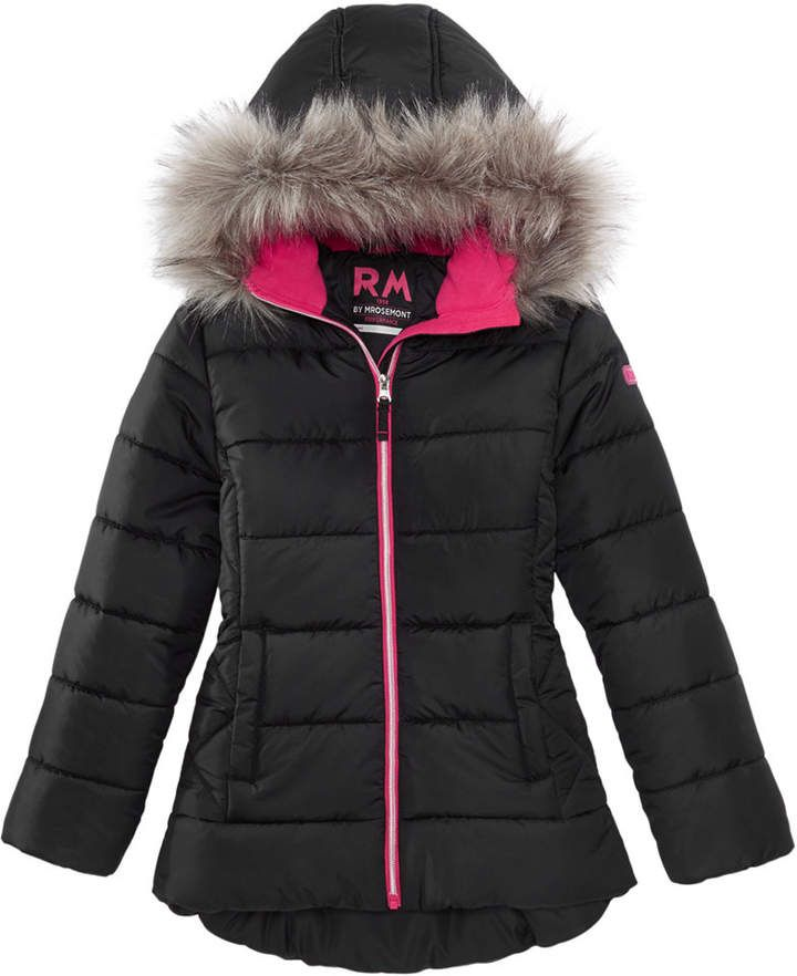 3f68d8fd7 Rm 1958 Big Girls Ashlyn Hooded Jacket with Faux-Fur Trim - Pink 16 ...