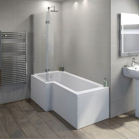 Boston Left Handed L Shaped Shower Bath 1700mm With 8mm Hinged Shower Screen Bad Inspiration Duschbadewanne Duschwand