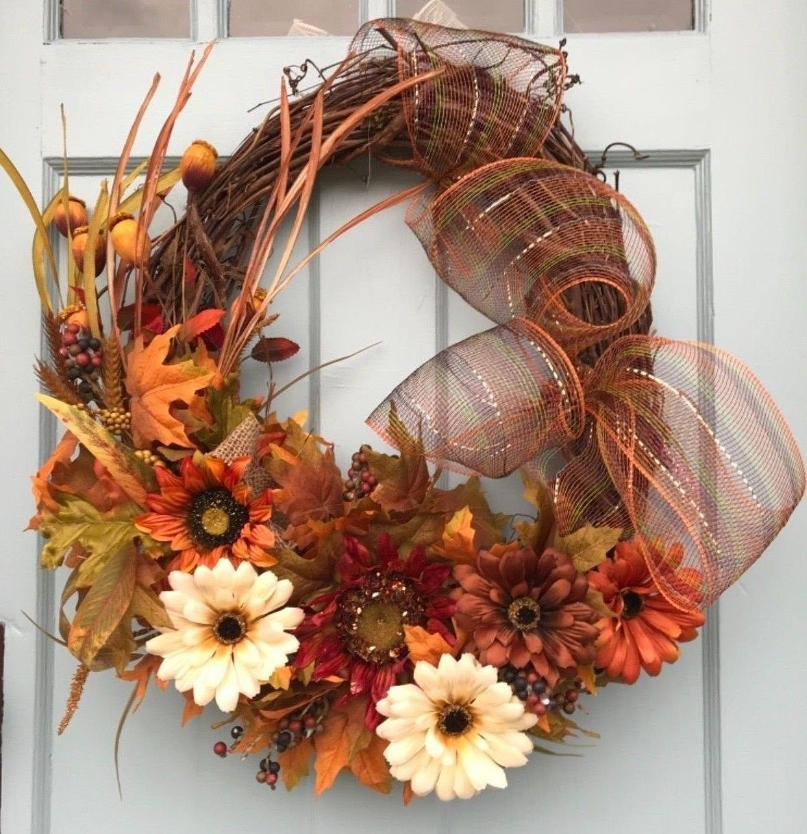 Photo of FREE SHIPPING! Get ready for fall! Beautiful, rustic autumn flower vine wreath for door, wreaths for front door, farmhouse wreath,