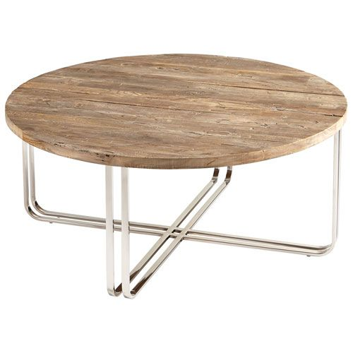 "39 3/4""W x 17""H x 39.75""D Montrose Black Forest Grove And Chrome Coffee Table Cocktail/Coffee Tables Accent Tables"
