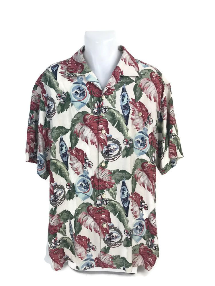 81915d5e505 Tommy Bahama Men s Christmas Ornaments 100% Silk Aloha Hawaiian Shirt Size  XL  TommyBahama  Hawaiian