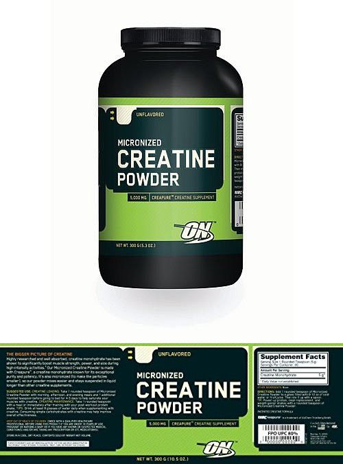 Optimum Nutrition Micronized Creatine Powder 300 G Micronized Creatine Creatine Micronized Creatine Powder