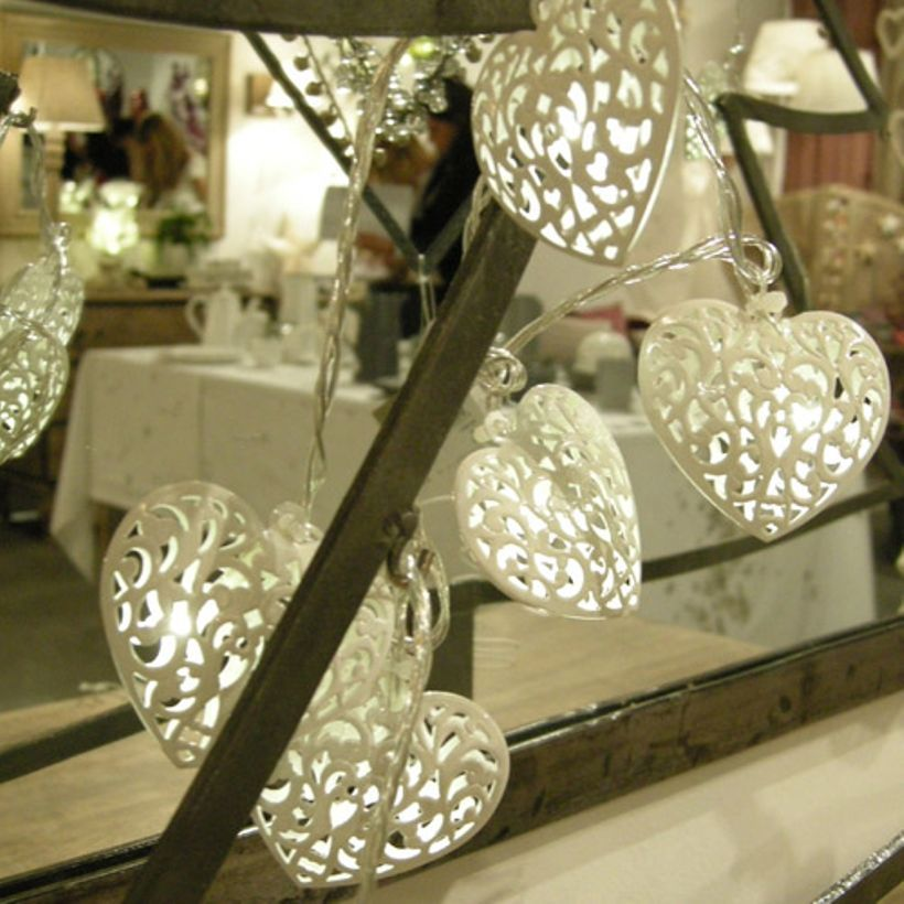 Guirlande lumineuse coeurs en métal blanc 20 leds Jardin d\'Ulysse ...