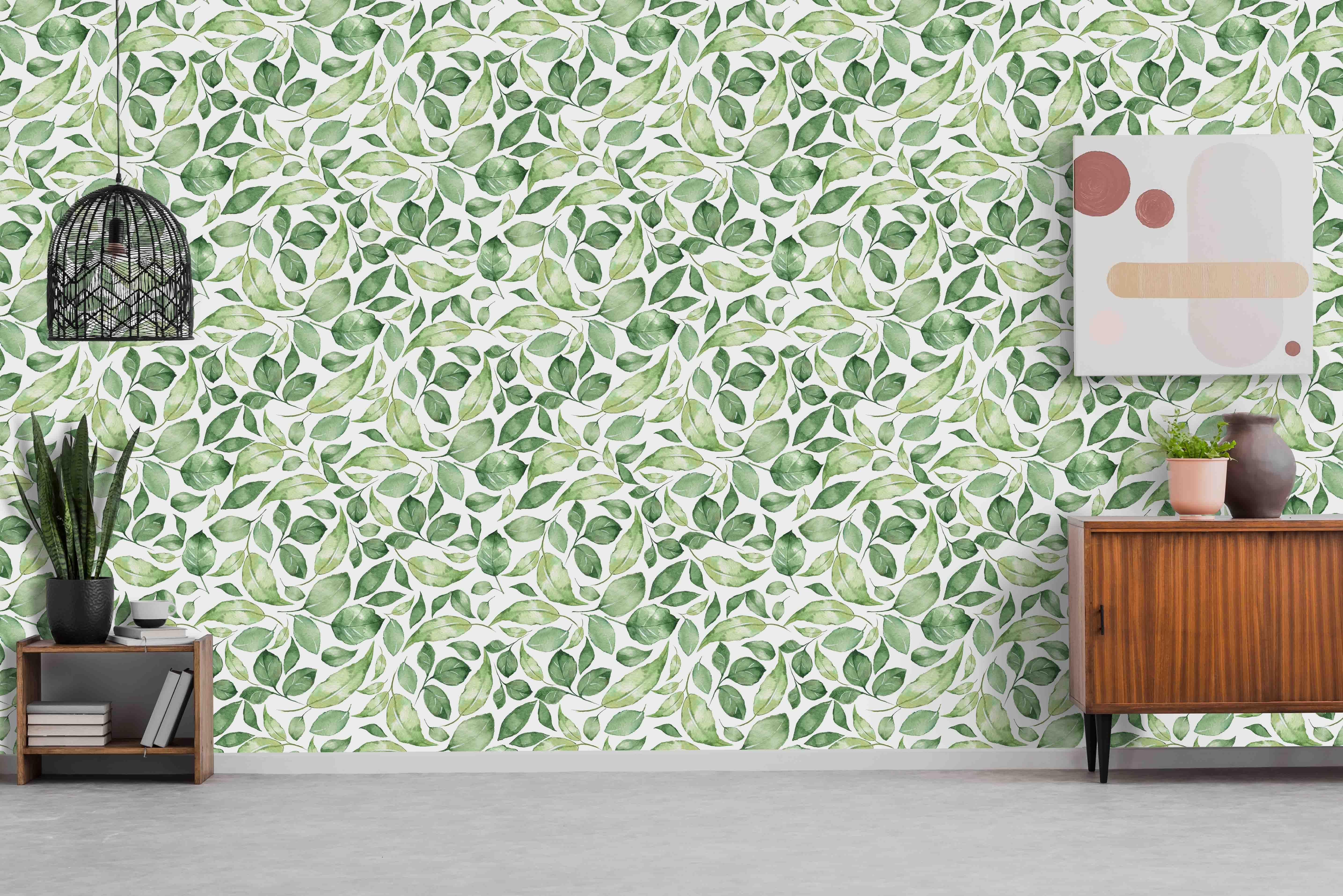 Watercolor Greenery Pattern Wallpaper Removable Vinyl Peel Etsy Pattern Wallpaper Paper Wallpaper Wallpaper