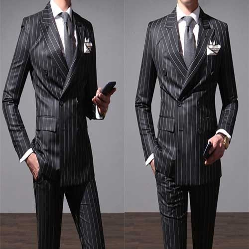 Black Double Ted Striped Suit Slim Fit Men S Wedding Tuxedo Groom Suits Uk