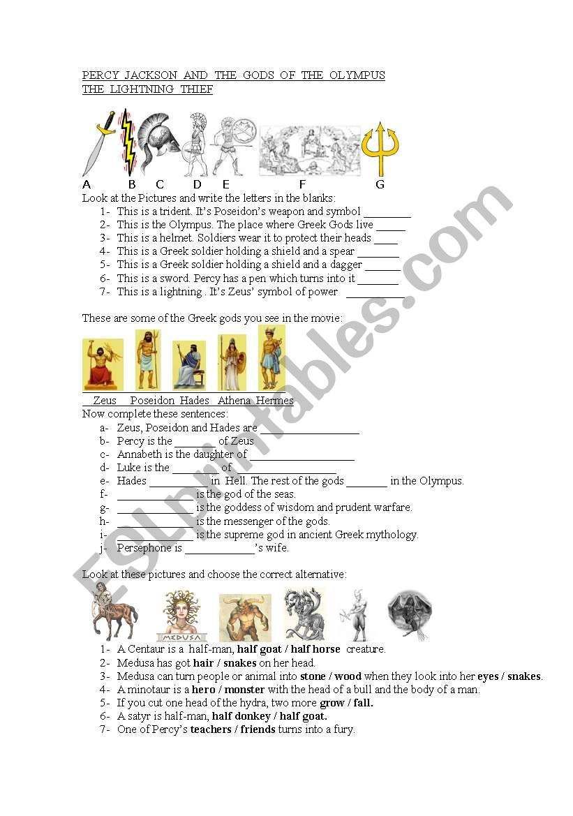 This is a worksheet about the movie Percy Jackson, just to