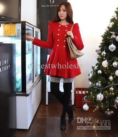 Womens Luxury Wool Coats Duffle coat Slim women red coat GIRL ...