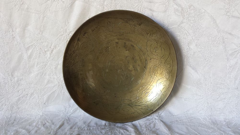 Antique Chinese Engraved Double Dragon Brass Bowl 10 Quot Ca