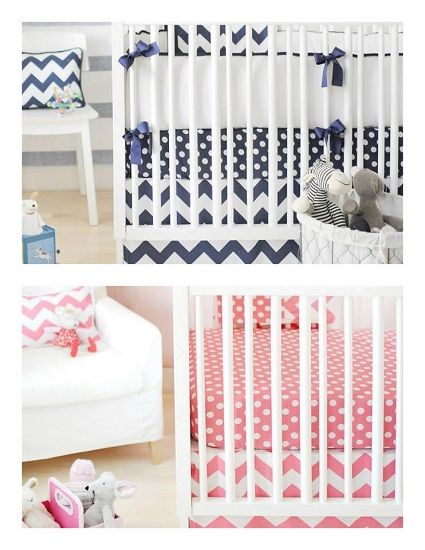 Boy Twin Nursery Bedding Zig Zag Baby 4pc In Hot Pink And Navy Blue 335 99