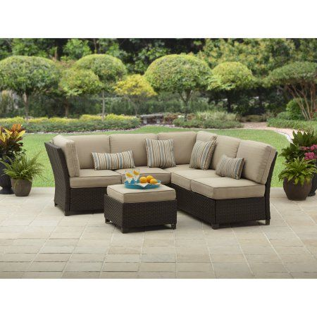 Better Homes And Gardens Cadence Wicker Outdoor Sectional Sofa Set Pillowset Patio Furniture Sets Outdoor Sectional Sectional Patio Furniture