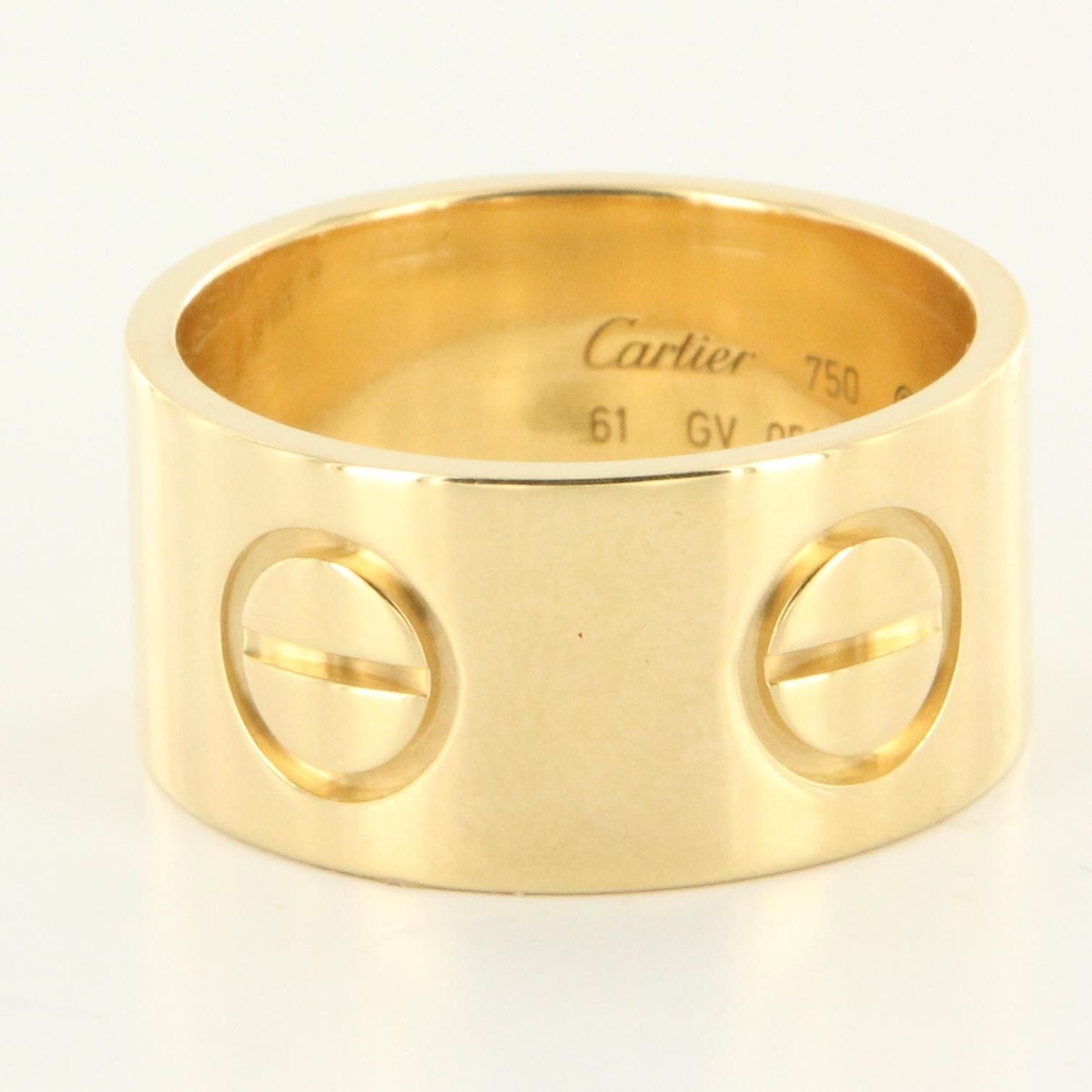 2ee926a9d7a Estate Cartier 18k Yellow Gold Wide 11mm Love Band Ring Designer Jewelry 61  9.5  2195