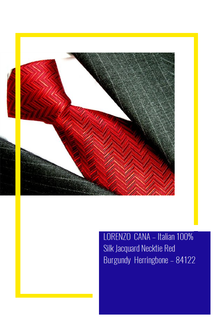 84122 Italian 100/% Silk Jacquard Necktie Red Burgundy Herringbone LORENZO CANA