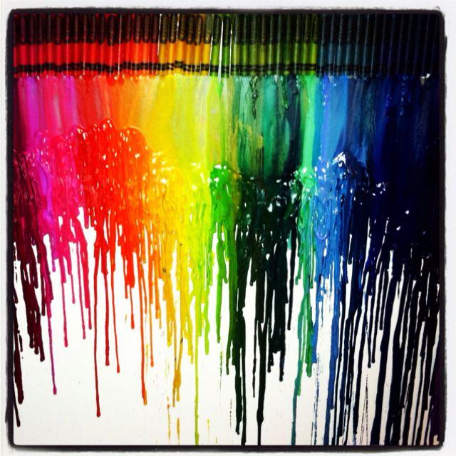 Rainbow wax crayon art