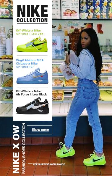 Nike Best Shoes. OW sneakers in stock - exclusive collection: 1. Virgil Abloh x MCA Chicago x Nike Air Force 107. 2. OFF WHITE Air Force 1 Low / Volt. 3. OFF WHITEAir Force 1 Low Black.