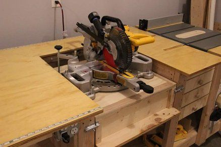 Tablesaw Router Fliptop Mitersaw Dust Collection Workbench Woodworking Bench Plans Table Saw Workbench Workbench