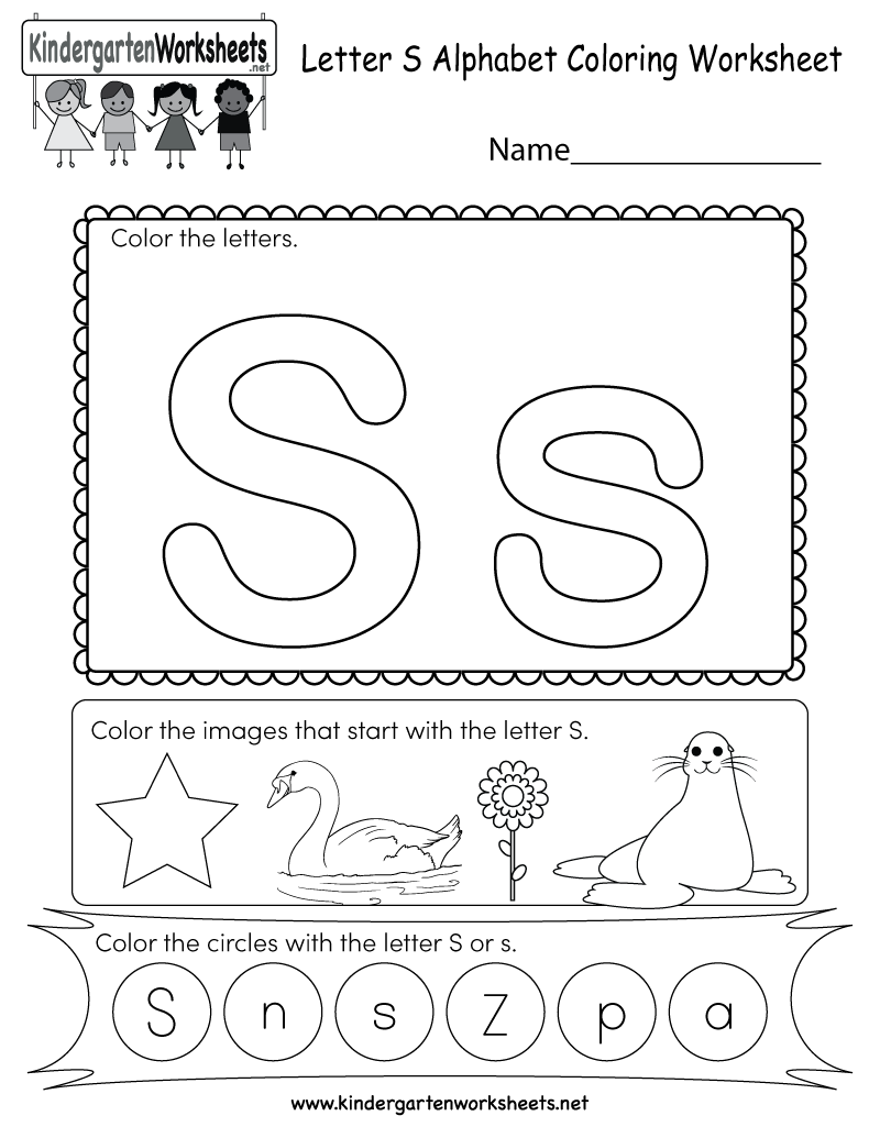 This Is A Letter S Coloring Worksheet Children Can Color The Letters And The Images Letter S Worksheets Alphabet Kindergarten Alphabet Worksheets Kindergarten