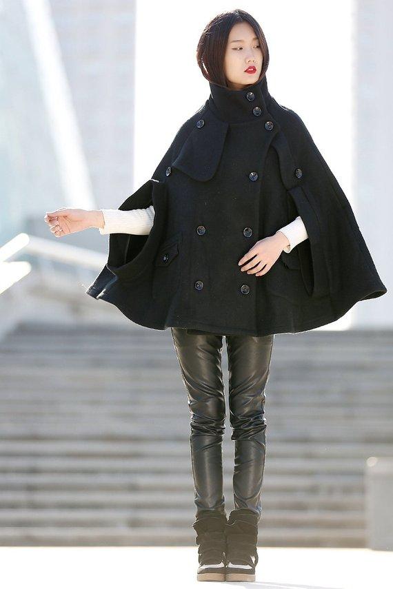 6bcae6cc17 Winter Wool Cape Coat - Black Poncho Style High Collar Short Women Cloak  Jacket - C193