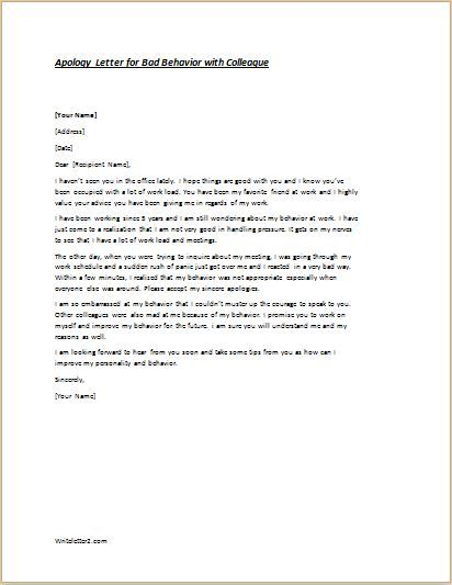 Apology Letter Sample Templates For Word Document Business Format