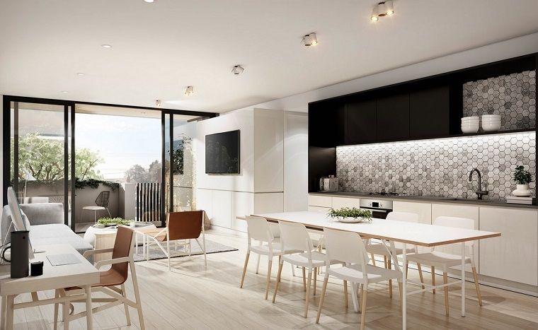 cocina abierta salon moderno pared ideas